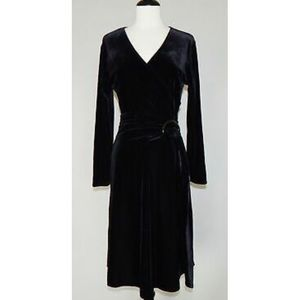 Black velvet Talbots wrap dress